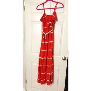 A. Byer Red Tie Die Maxi Dress with a Belt